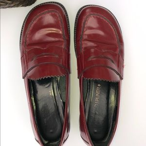 Donald J Pliner Red Platform Loafers